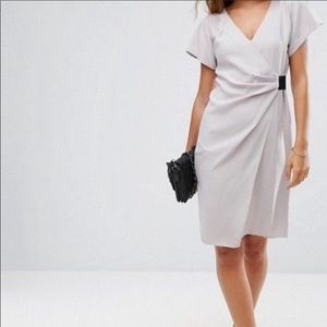 ASOS soft gray wrap dress